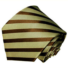 Men's brown and beige striped pattern woven  tie