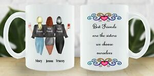 FREE POSTAGE 3 BEST FRIENDS PERSONALISED MUG CUP CHANGE HAIR CLOTHES FRIENDSHIP