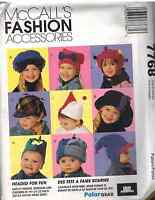 7768 Vintage McCalls SEWING Pattern Childrens Hats Caps winter snow SEW classic