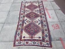Antique Traditional Hand Made Rug Persian Oriental Brown Wool Rug 196x99cm