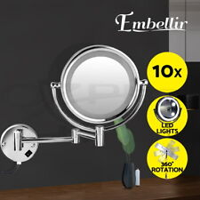 Embellir Wall Mounted Magnifying Mirror with LED Lighted - Silver