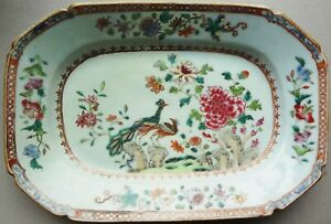 """18thC CH'ING PERIOD small FAMILLE ROSE 10"""" PLATTER- PAIR PEACOCKS -WESTERN SHAPE"""
