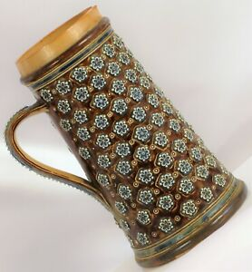 1878 DOULTON LAMBETH SIGNED WATER JUG PITCHER BEER STEIN TANKARD w/ SPOUT DAMAGE