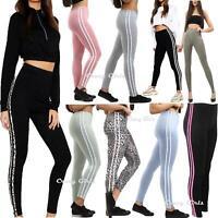 Womens Ladies Contrast 2 Side Stripe Leggings Gym Stretchy Skinny Pants Trouser