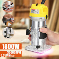 1800W 1/4'' 110V Electric Hand Trimmer Wood Laminate Palm Router Joiners Set US