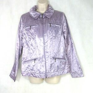 TanJay Full Zip Jacket Light Iridescent Women Size 12 Lilac Purple Long Sleeve