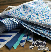 10-40ft (3-12m) JILPI BLUE WHITE FABRIC BUNTING, FLORAL STRIPED, HANDMADE, NEW!