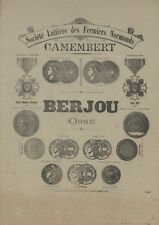 """""""CAMEMBERT BERJOU""""Affiche d'intérieur originale entoilée Typo-litho 1896 39x50cm"""