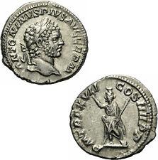 Caracalla Denar Rom 214 P M TR P XVII COS IIII PP Serapis Kalathos Polos RIC 244