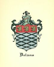 *Great Coat of Arms Delano Family Crest genealogy, would look great framed!