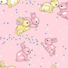 Fat Quarter Rabbits Pink Minkey Minkie Cotton Quilting Fabric 50 x 70cm
