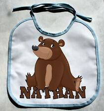 Personalized Monogram Custom Bear Zoo Animals Baby Boy Bib Shower Gift bibs