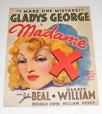 "VTG RARE 1937 Jumbo Lobby Card MADAME X Gladys George Warren William 17"" x 14"""