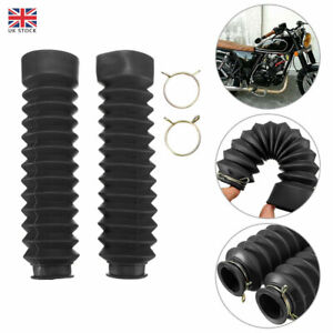 1 Pair Motorcycle Rubber Front Fork Dust Cover Gaiters Gaitors Boots Shock UK