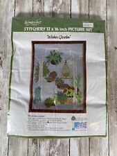 Vtg WonderArt Crewel Kit Wicker Garden Plants 12 x 16 Picture Kit New Sealed