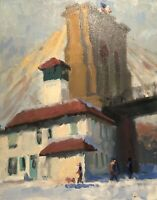 HABER PLEIN AIR BROOKLYN BRIDGE NEW YORK CITY STREET IMPRESSIONIST PAINTING
