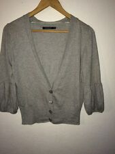 Atmosphere Grey Cardigan Top Thin Knit Puff Sleeve V Neck Size 10 <R4172