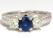 $6600 2.14ct NATURAL BLUE SAPPHIRE DIAMONDS RING 14KT CLASSIC  EDWARDIAN DECO