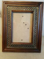 "Ornate Gold Wood Picture Frame Gesso 7""×10"" holds 4""×6"" photo"