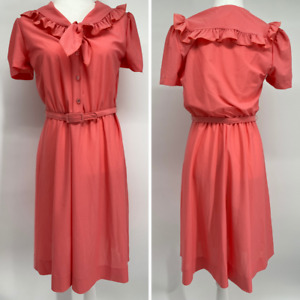 Vintage Ruffle Secretary Dress 70s NPC Fashions Belt Size M (10) Coral Pink