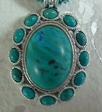 "Faux Turquoise Choker Necklace,  5 Strand 17"" Chain, 13 ""Stones"" in  Pendant"
