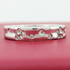 Genuine Solid 9ct White Gold Engagement Wedding Flower Ring Simulated Diamonds