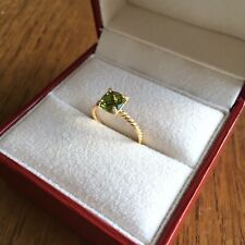 David Yurman 18K Yellow Gold Chatelaine Ring with Peridot & Diamonds
