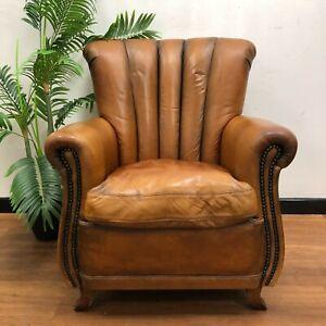 Tetrad Leather Club Chair Art Deco Armchair in Cognac Tan Hide 'Ella' John Lewis