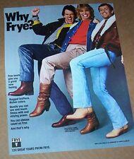 1983 vintage print ad - Frye Shoe girl guys Cowboy western boots Alberto-Culver