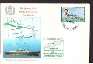 Anguilla 1977 Britannia Royal Yacht cover stamps