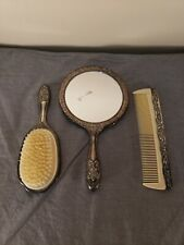 Vintage Silver plated Mirror, Brush and Comb Vanity Set, Very Nice FS Charity