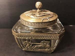 Antique Gilt Bronze And Crystal Box/ French Empire/ Jewelry Box/ France C. 1840
