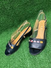 Vintage 80s Navy Leather Gucci Nautical Sandals Heel sz 36.5 Euro Us 6.5