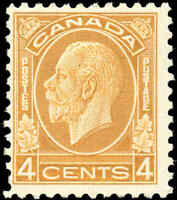 Mint Canada 1932 F+ Scott #198 4c King George V Medallion Issue Stamp Hinged