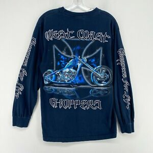 VTG West Coast Choppers Long Sleeve Shirt Mens Medium Blue BIG LOGO Jesse James