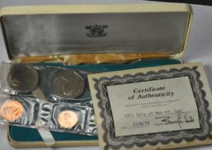 1971 Isle of Man 6 Coin Set w Box & COA