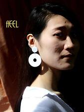 orecchini A perno Argentato Bianco Geometrico Resina Due Tondo Retrò BB12