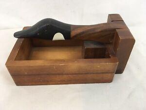 Vtg Solid Wood Goose Head Wood Box Nut Cracker
