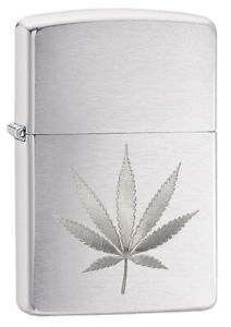 GENUINE ZIPPO LIGHTER BRUSHED CHROME LEAF (99185) GIFT BOXED - AU STOCK !