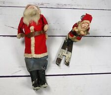 Vtg Felt Santa Claus Father Christmas Set of 2 Japan