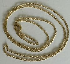 18ct Solid Yellow Gold Flat Curb Link Figaro 1:1 Chain Necklace  51 cms   2.79g