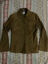 VNTG🔥 Gianfranco Ferre Studio Brown Leather Shirt Jacket Made in Italy Sz 42