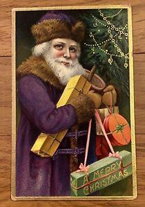 1904 Merry Christmas Santa Claus Postcard Full Purple Robe, Presents, Tree