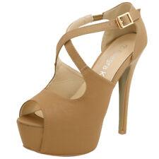 a8d25f7ec3b6 Woman PEEP Toe High Heel Crisscross Straps Platform Sandals Tan US 10