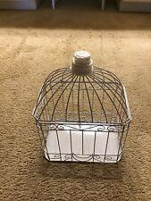 White Metal Square Birdcage Wedding Card Holder