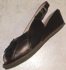 WORISHOFEN Softouch Leather Sz 38 Comfort Sling back Wedge Sandal Bronze Pewter