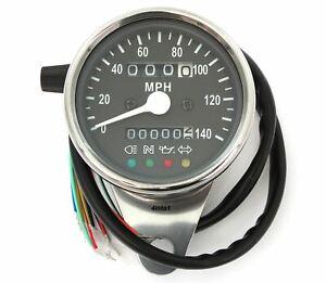 Mini Speedometer w/ Indicators & Trip Meter - 2240:60 - Chrome & Black - MPH
