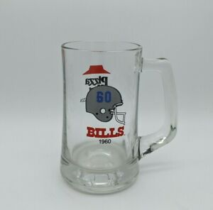 Vintage 1960 Buffalo Bills Pizza Hut 1987 Glass Beer Mug - Home of Pan Pizza