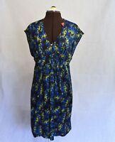 SABA BLUE YELLOW SILK DRESS 10 NEW