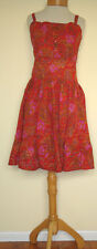 New_Boho Peasant_Cotton Paisley Printed Strap Dress_Red_M, L